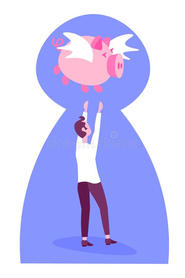 Businessman catch flying piggybank pigs growth wealth concept business man money piggy bank keyhole background vertical. Flat vector illustration stock illustration