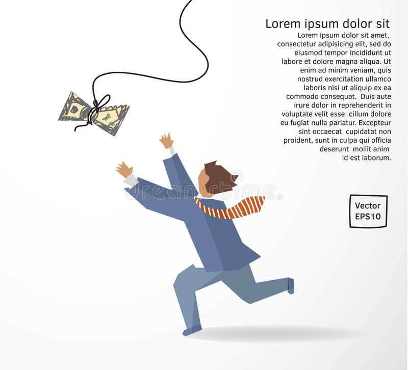 Businessman catch money dollar run flat drawing. Color vector illustration. EPS10 vector illustration