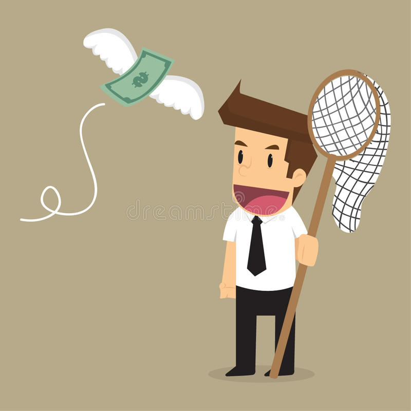 Businessman catch money flying.  vector illustration