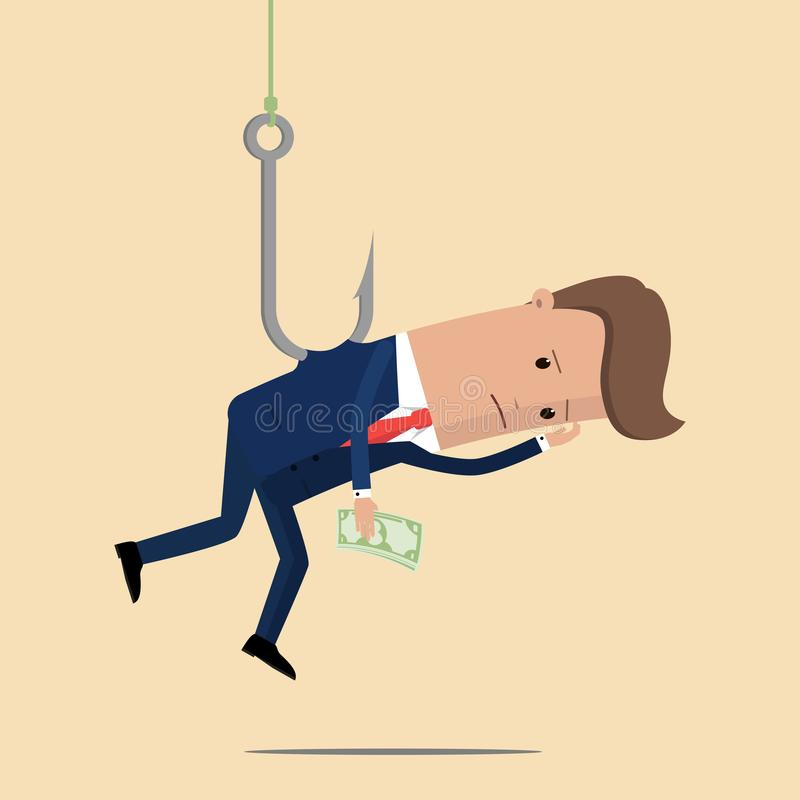 Businessman catch money by hanging with fishing hook. Vector Illustration.  stock illustration