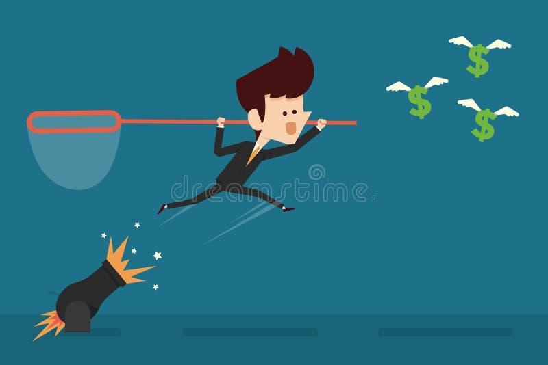 Businessman catching money stock illustration