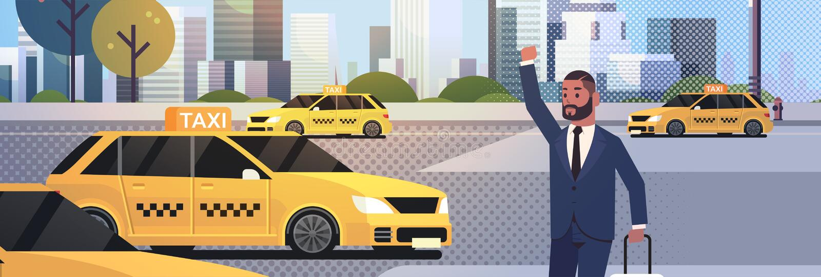 Businessman catching taxi on street african amerian business man with luggage stopping yellow cab city transportation vector illustration