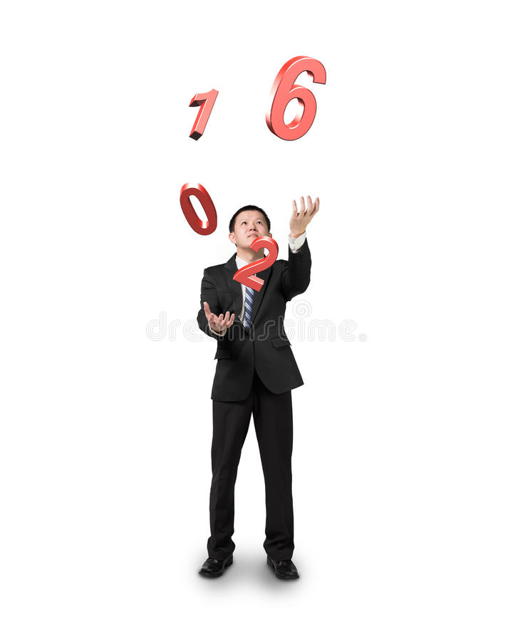Businessman catching throwing 2016 red words royalty free stock photos