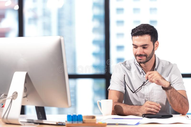 Businessman caucasian using  computer to work royalty free stock images
