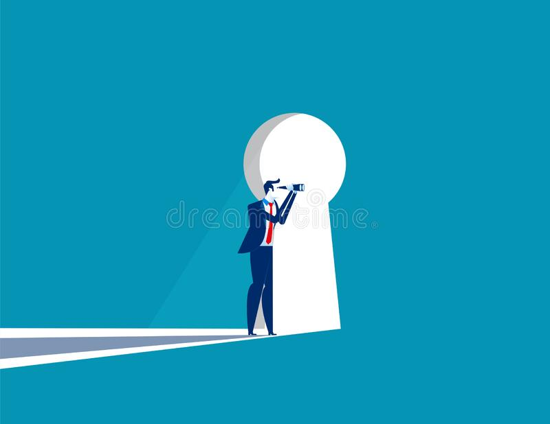 Businessman cautious looking out form through large lit up keyhole. Concept business vector illustration royalty free illustration