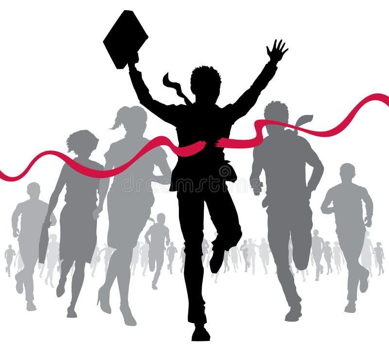 Businessman celebrates at the finish line stock illustration