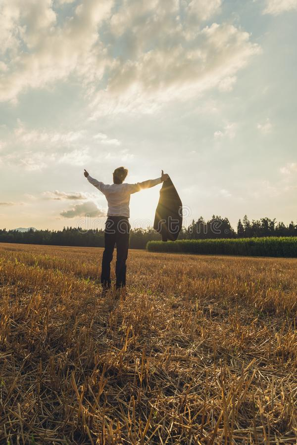 Businessman celebrating his achievement outside in autumn field royalty free stock images