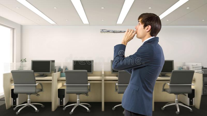 Businessman Celebrating in the Office. Businessman celebrating by himself alone in the office.  He is happy because of a birthday, holiday or a successful job stock photography
