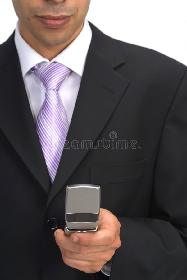 Businessman with cell phone stock images