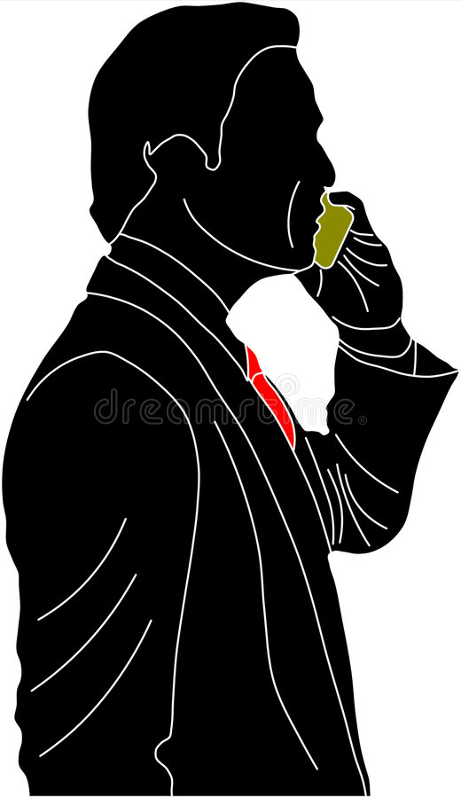 Businessman on cellphone vector illustration