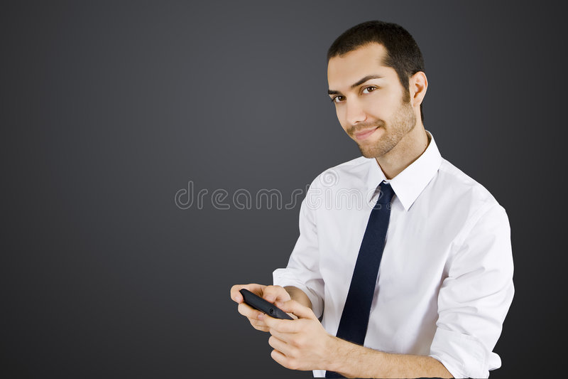 Businessman cellphone royalty free stock photo