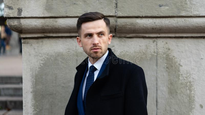 Businessman or ceo urban fashion. Manager with serious face. Modern life and agile business. Business and success. Man stock photos
