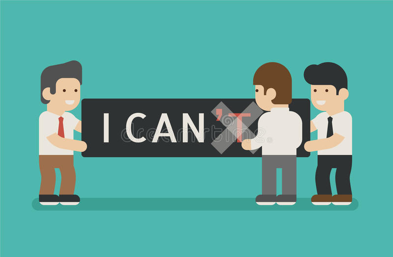 Businessman change text I can't to I can vector illustration