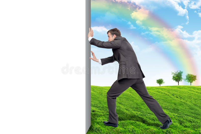 Businessman changing emptyness on nature landscape stock image