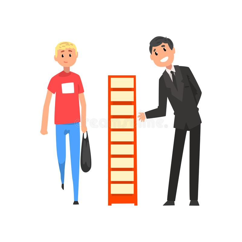Businessman character advertising products or services on a stand at trade fair or exhibition vector Illustration on a. Businessman character advertising royalty free illustration