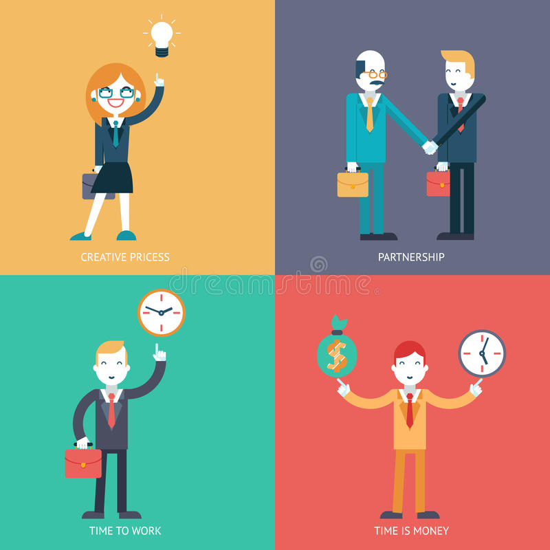 Businessman character concept icons set modern trendy flat vector illustration vector illustration