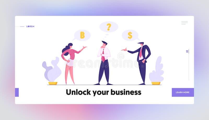 Businessman Character in Doubt Landing Page Template Doordachte man die besluit neemt over financiële investeringen stock illustratie