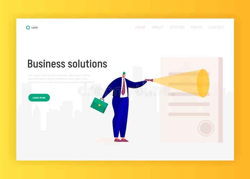 Businessman Character Explore Contract Landing Page. Agreement Lighted with Flashlight. Giant Man Looking at Document stock illustration