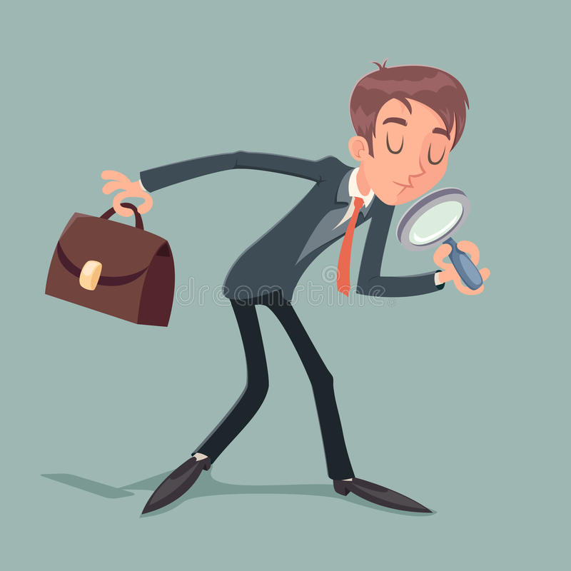 Businessman Character with Magnifying Glass and Briefcase Search Quest Possibility Development Icon on Stylish. Businessman Character Magnifying Glass and vector illustration