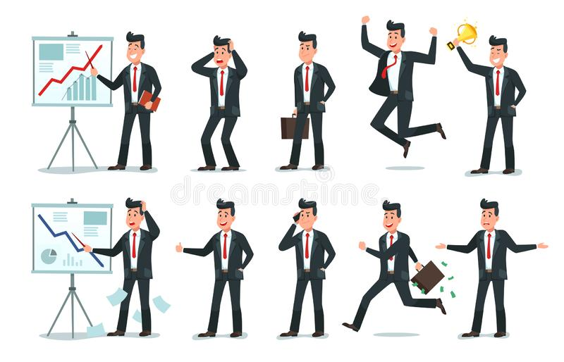 Businessman character. Office employee workers, tired finance worker and business characters cartoon vector illustration stock illustration