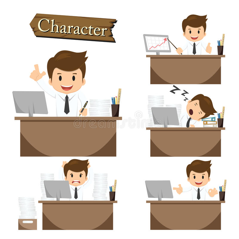 Free Businessman Character On Office Set Vector Royalty Free Stock Image - 45503476
