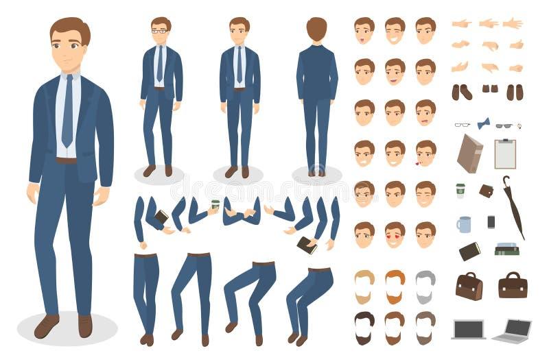 Businessman character set. royalty free illustration