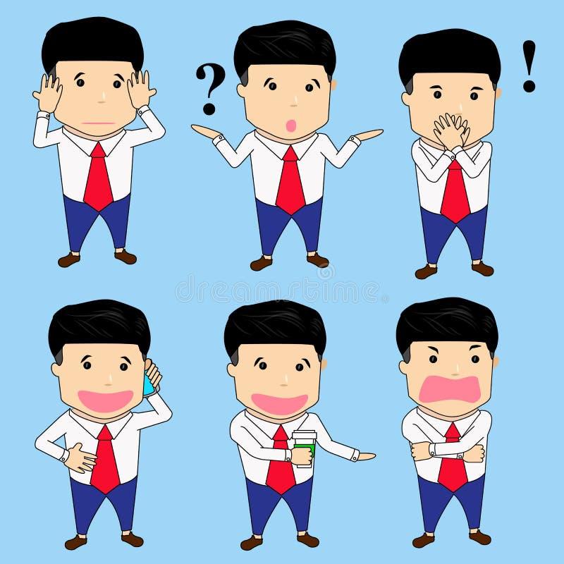 Businessman character set royalty free illustration