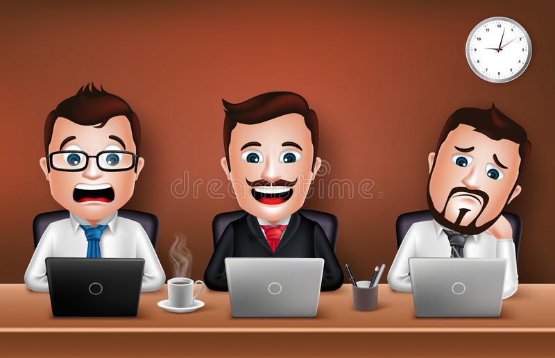 Businessman Character Working on Office Desk Table. Set of Realistic 3D Businessman Character Working on Office Desk Table with Laptop. Vector Illustration vector illustration