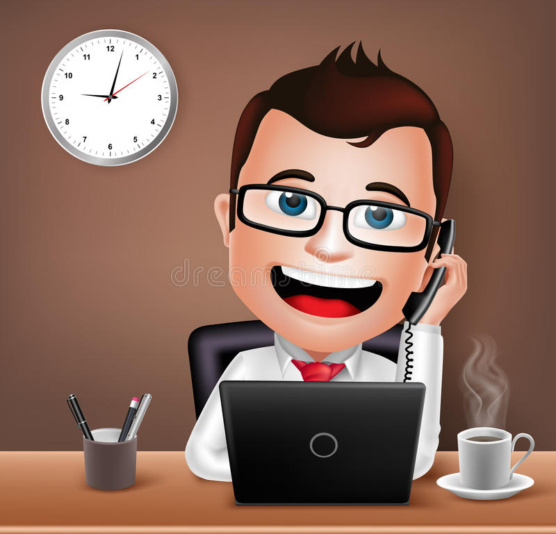 Businessman Character Working on Office Desk Table Talking on Telephone. Realistic 3D Businessman Character Working on Office Desk Table with Laptop Talking on vector illustration