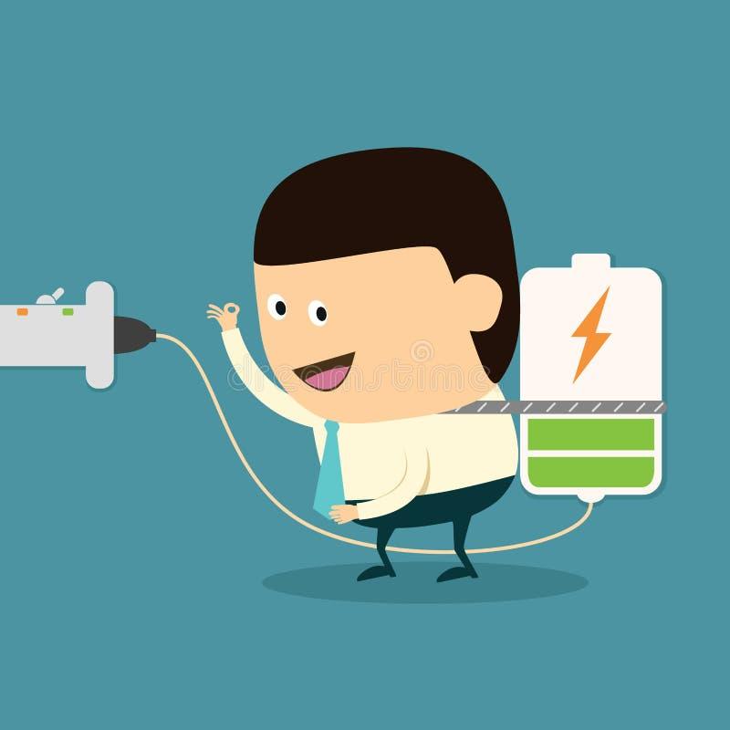 Cartoon Businessman charging battery vector illustration