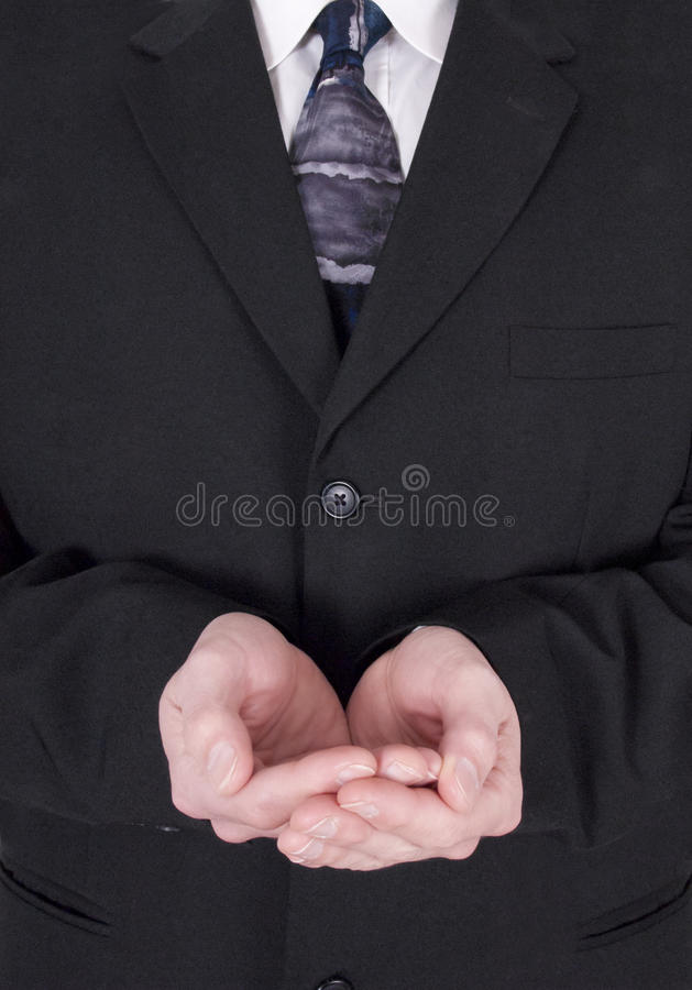 Businessman, Charity, Cupped Hands Holding Nothing. Businessman with cupped hands holding nothing. This is an image for graphic designers for creating a concept stock image