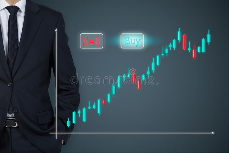 Businessman and chart. Businessman standding and stock chart on virtual screen stock image
