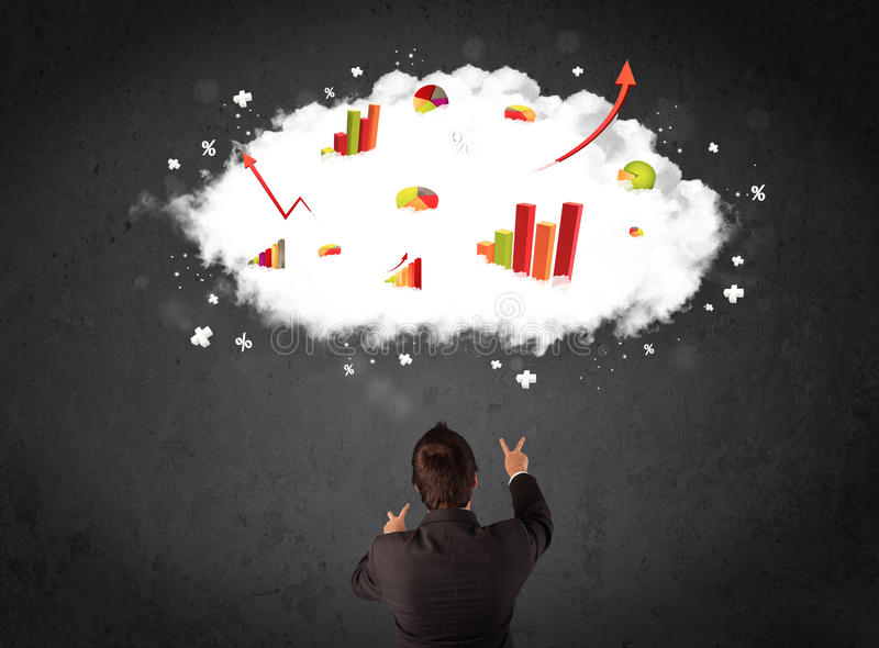 Businessman With Charts In A Cloud Above His Head Stock Photography