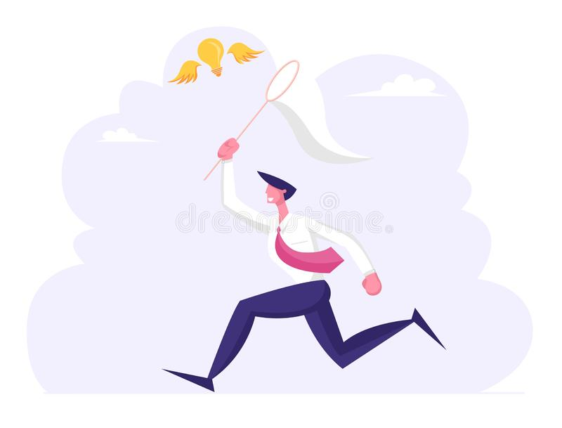 Businessman Chasing Flying Light Bulb Trying to Catch it with Butterfly Net. Business Man Searching Inspiration. Creative Idea, Financial Success Opportunity vector illustration