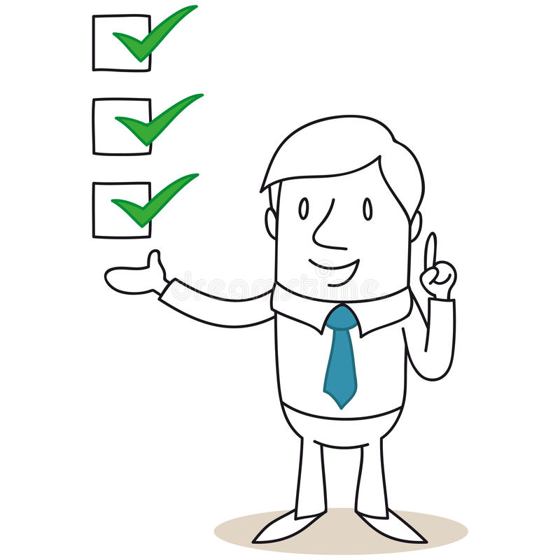 Businessman with check boxes royalty free illustration
