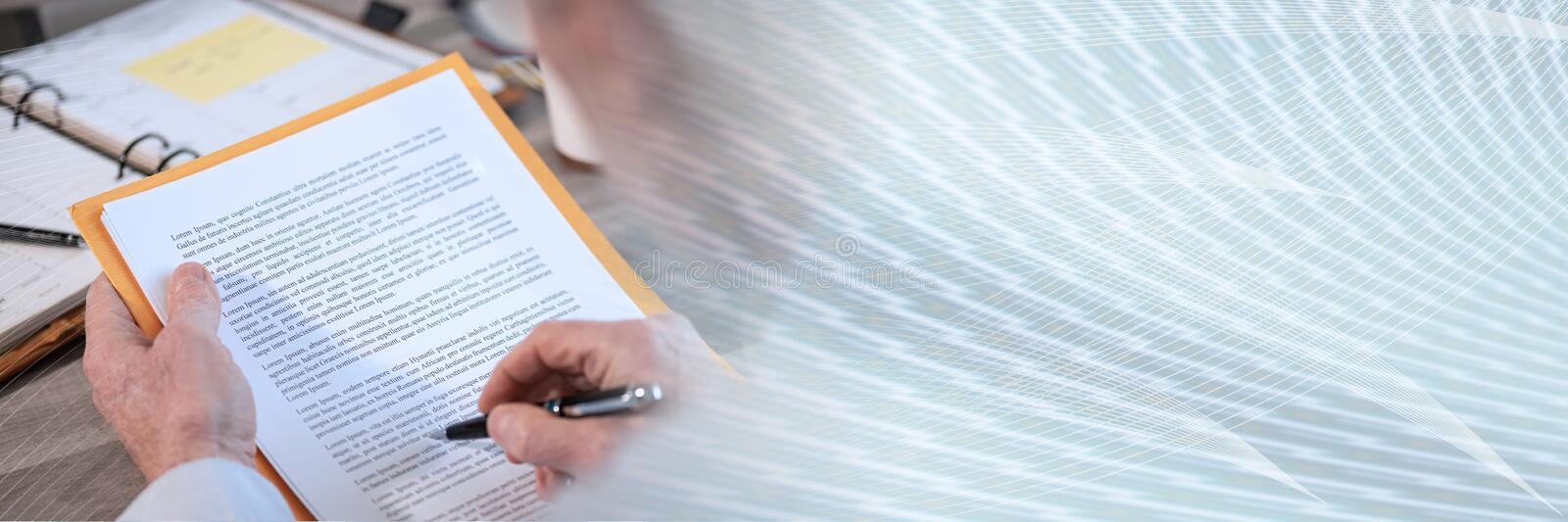 Businessman checking a document; panoramic banner royalty free stock photos