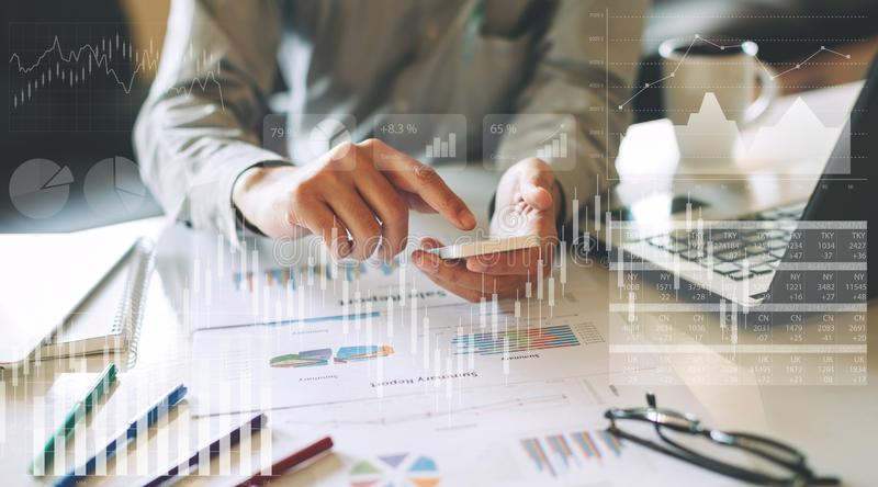 Businessman checking financial result of company economy. royalty free stock photo