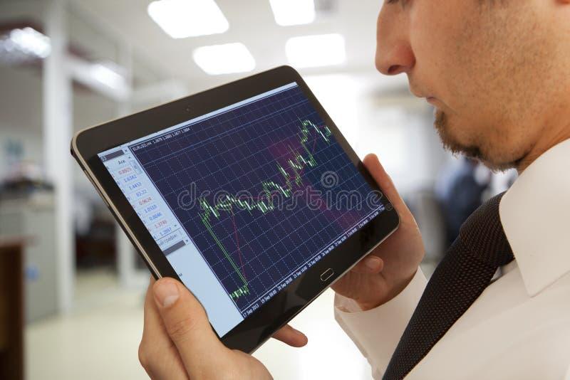 Businessman checking the stock market royalty free stock photos