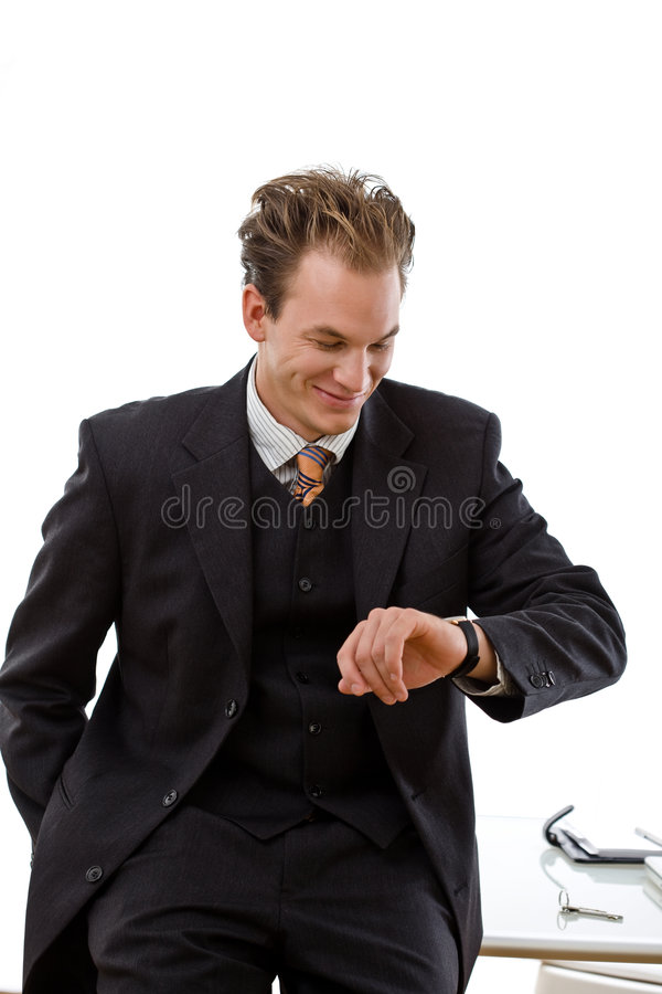 Businessman Checking Time Stock Photos