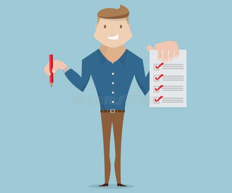 Businessman with checklist cartoon royalty free illustration