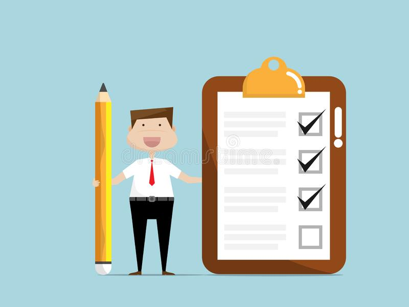 Businessman with checklist paper on clip board stock illustration