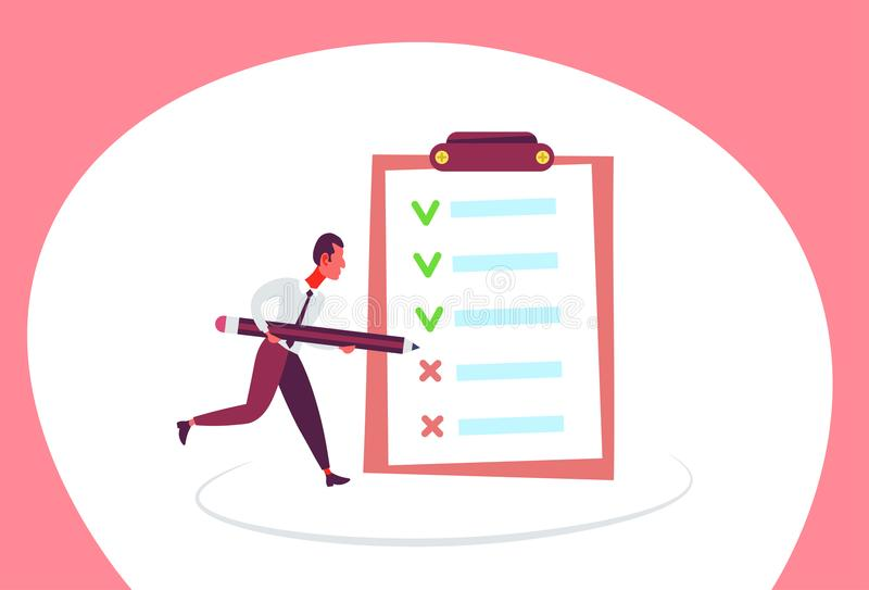 Businessman checklist solution questionnaire tick and cross check mark planning strategy creative process horizontal vector illustration