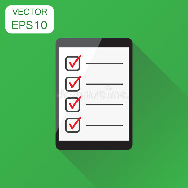 Businessman checklist with tablet icon. Business concept stock illustration