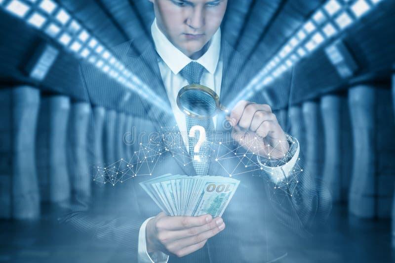 Businessman checks the money royalty free stock photos