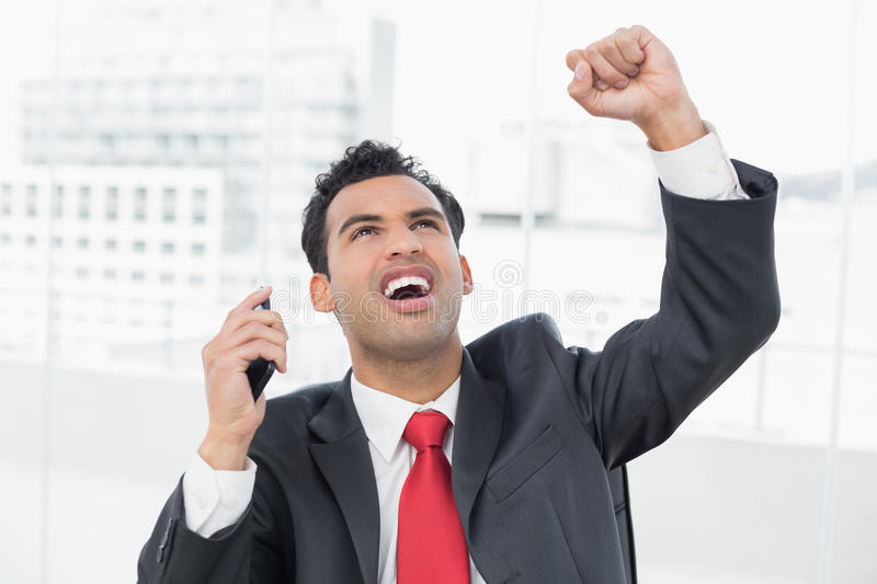 Businessman cheering with clenched fist as he looks up royalty free stock photos