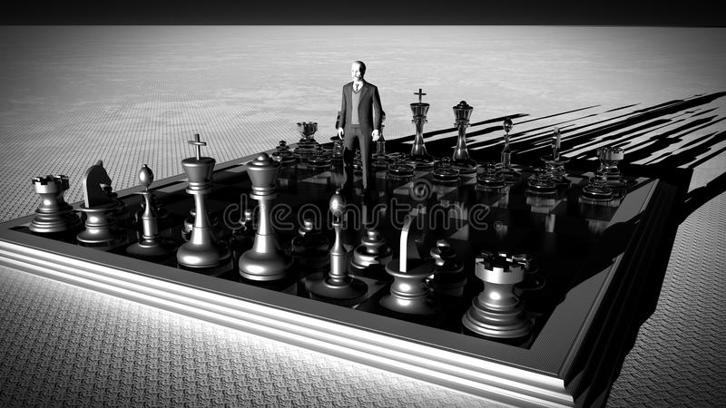 Businessman with chess board. Brainstorming concept 3d rendering vector illustration