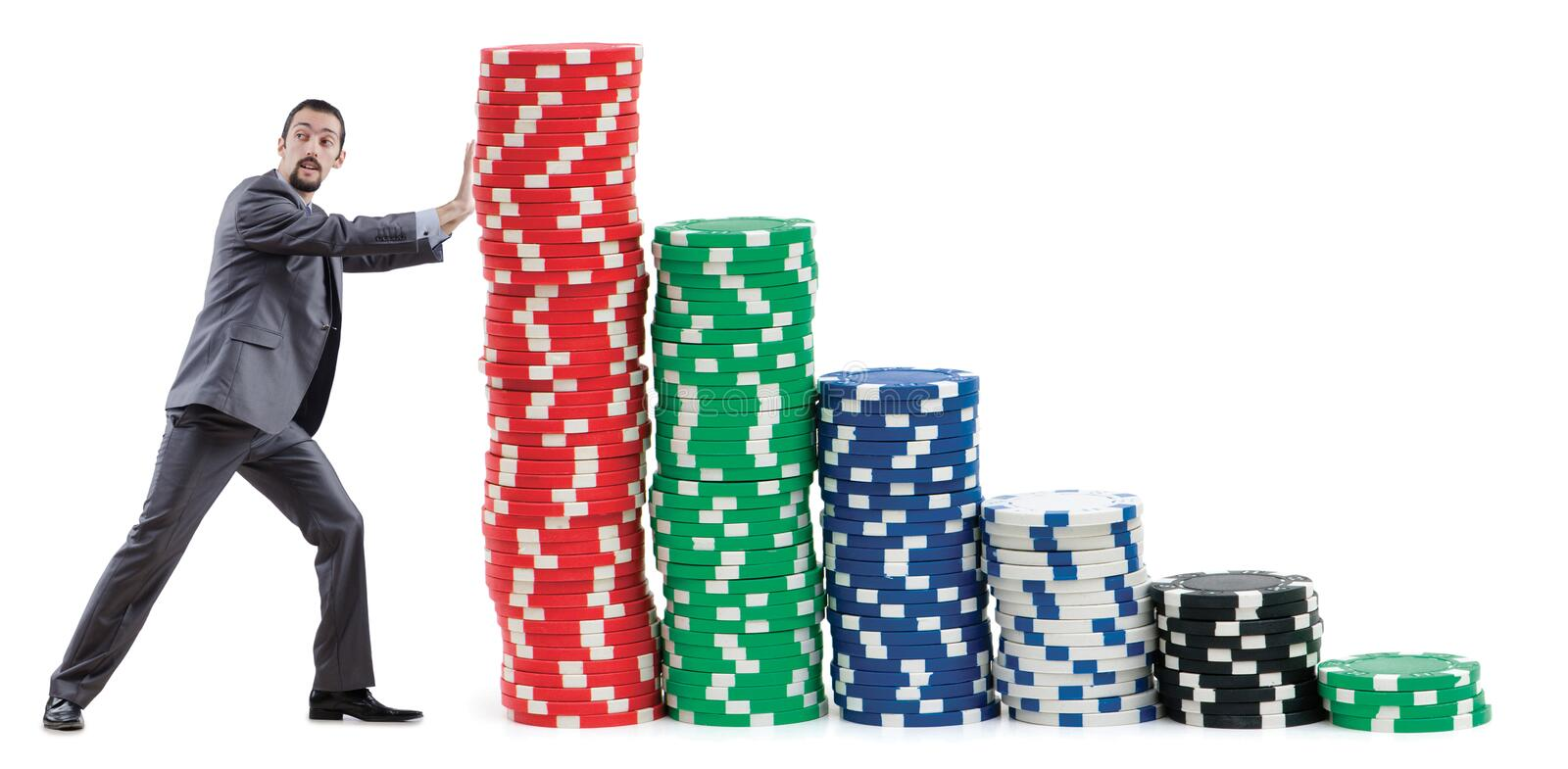 Download Businessman And  Chips On White Stock Photo - Image of risk, holding: 24556560
