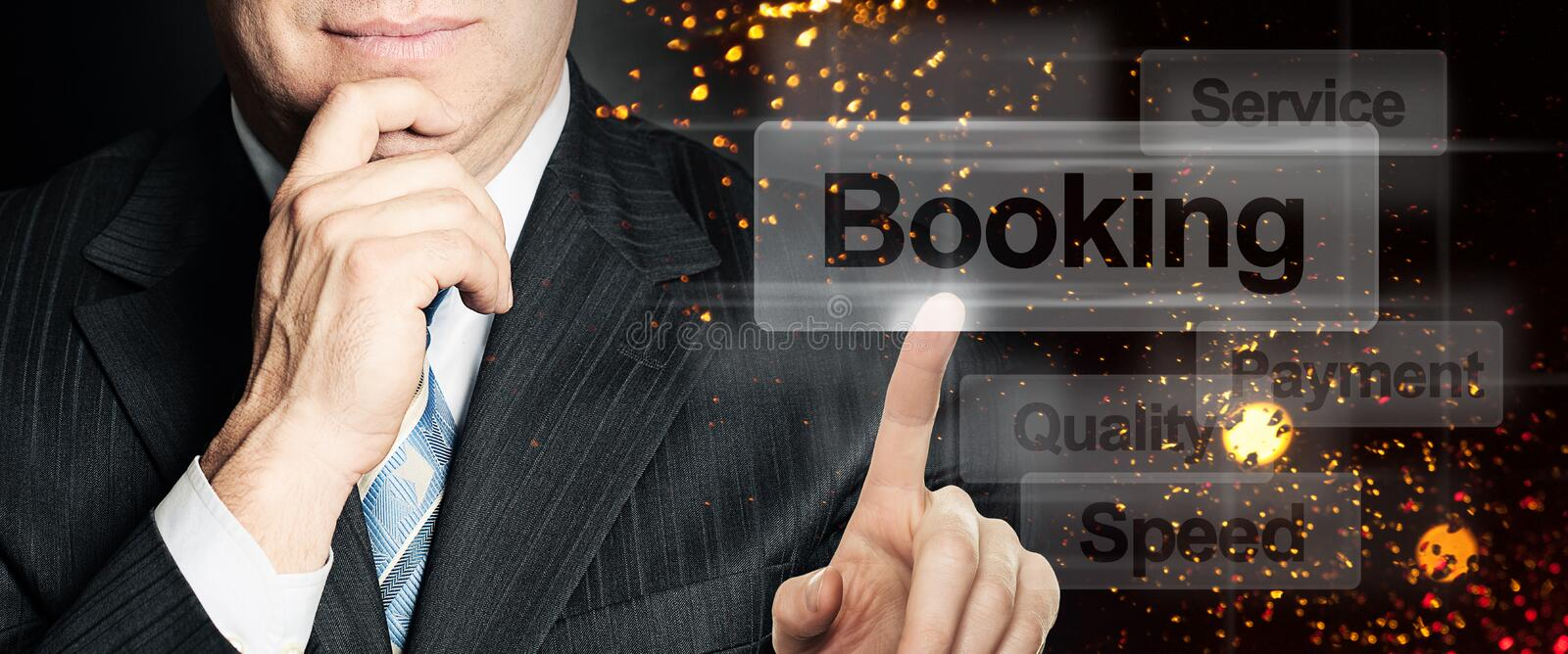 Businessman chooses Booking, modern business background concept royalty free stock photo