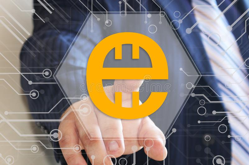 Businessman chooses Estcoin on the touch screen. Business techno vector illustration