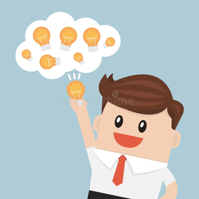 Businessman chooses one idea, vector illustion flat design style. stock illustration